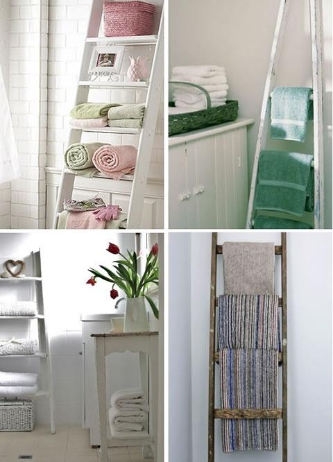 Лестница-стеллаж в ванной