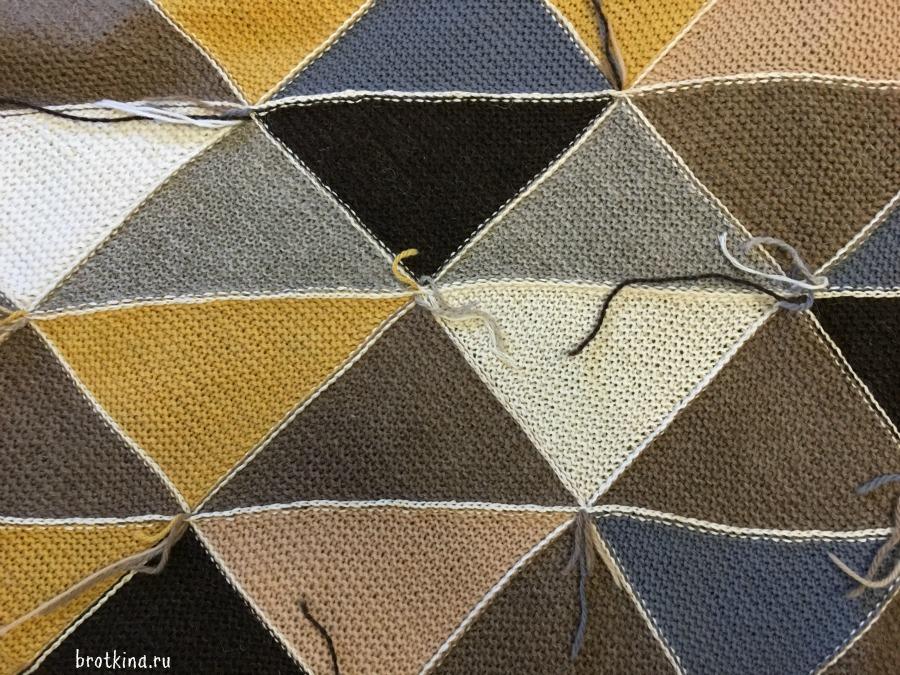 Do it yourself подробный мастер-класс по созданию пледа из вязаных треугольников
